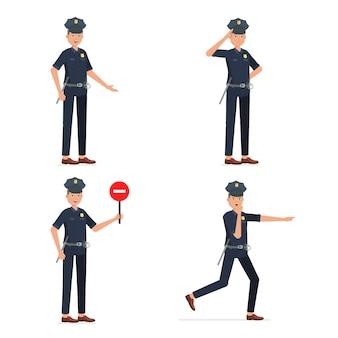 Conjunto de poses de policial isoladas em branco