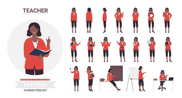 Conjunto de poses de professora negra afro-americana