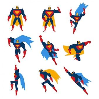 Conjunto de poses de super-homem ilustração