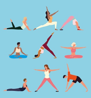 Conjunto de poses de treinamento de ioga de pessoas