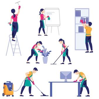 Conjunto de poses diferentes de funcionários da empresa de limpeza