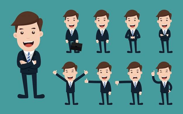 Conjunto de poses diferentes de personagem de homem de negócios.