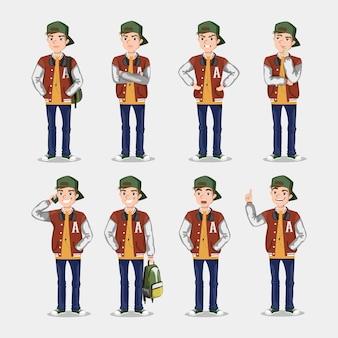 Conjunto de poses e emoções. adolescente em um vestido estiloso