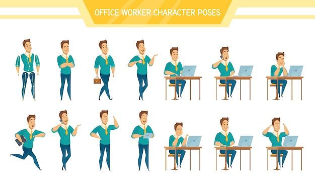 Conjunto de poses masculinas de trabalhador de escritório