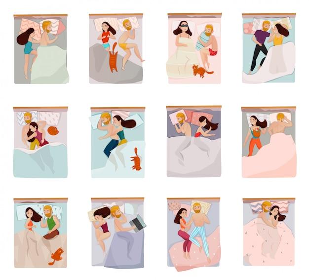 Conjunto de poses para dormir