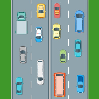 Conjunto de posição de vista superior de carros diferentes na estrada. estilo de design plano. ilustração