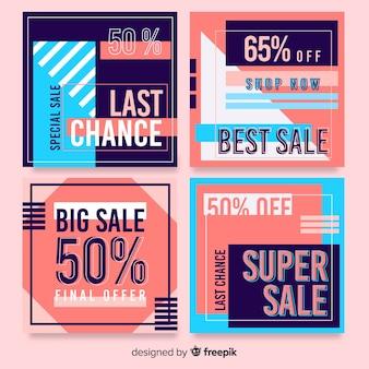 Conjunto de post colorido abstrato venda instagram