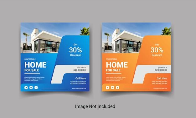 Conjunto de post design de mídia social instagram de venda de imóveis ou casa