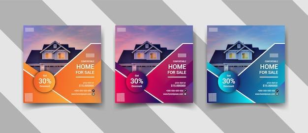 Conjunto de post design de mídia social instagram de venda de imóveis ou casas