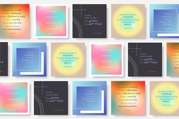Conjunto de post instagram de citações inspiradoras de gradiente