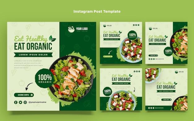 Conjunto de post instagram de comida orgânica de design plano