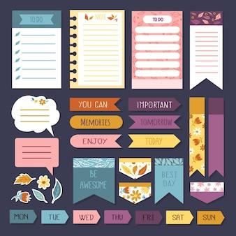 Conjunto de post-its e notas de memória do planejador