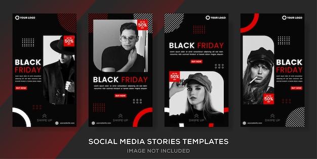 Conjunto de postagem de histórias de banner para venda de moda de sexta-feira negra.
