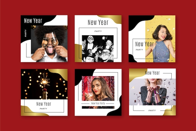 Conjunto de postagem de instagram de festa de ano novo