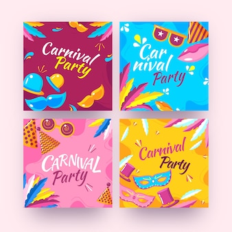Conjunto de postagem de instagram de festa de carnaval