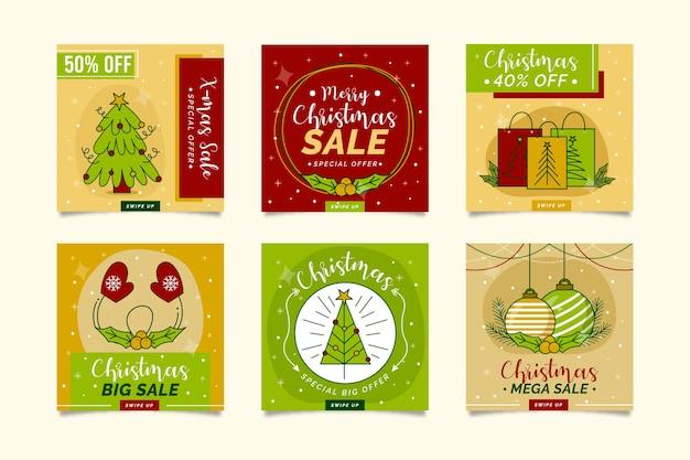 Conjunto de postagem de instagram de venda de natal