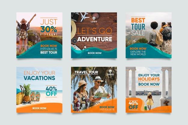 Conjunto de postagem de instagram de venda de viagens