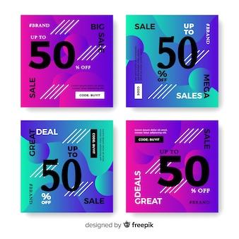 Conjunto de postagem de instagram de venda gradiente