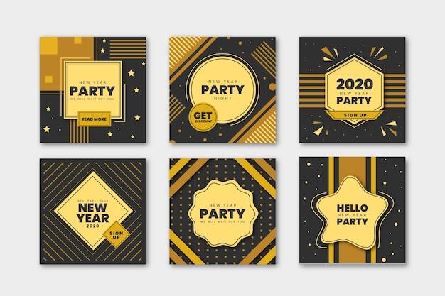 Conjunto de postagem do instagram de festa de ano novo