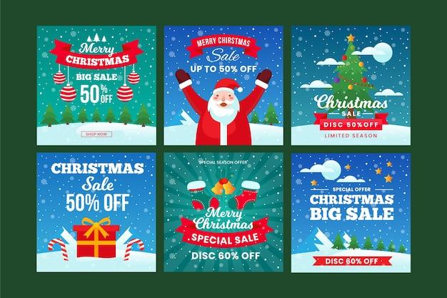 Conjunto de postagem do instagram de venda de natal