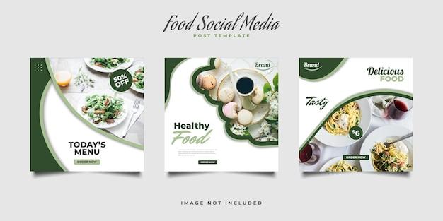 Conjunto de postagem em mídia social ou modelo de banner para promoção de alimentos ou bebidas saudáveis
