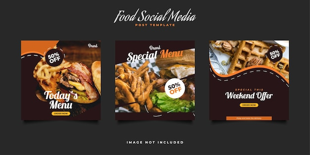 Conjunto de postagem em mídia social ou modelo de banner para promoção de comida ou bebida