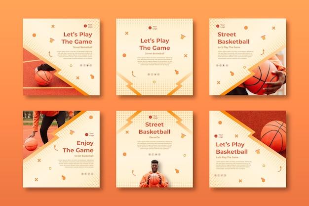 Conjunto de postagens de esporte gradiente