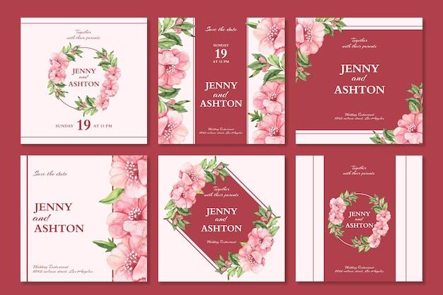Conjunto de postagens de instagram de casamento floral