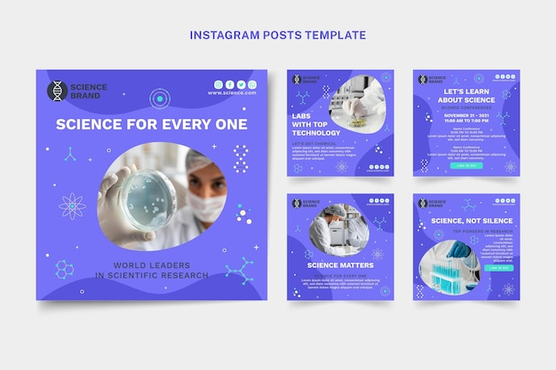 Conjunto de postagens de instagram de ciência plana