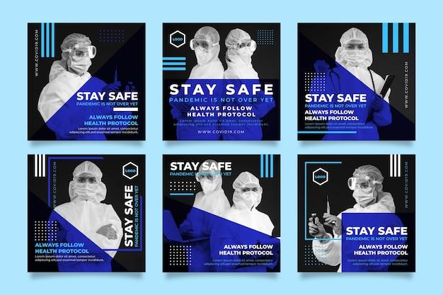 Conjunto de postagens de instagram de coronavírus gradiente