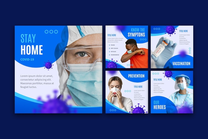 Conjunto de postagens de instagram de coronavírus plano