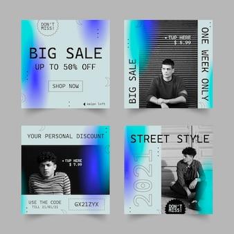 Conjunto de postagens de instagram de gradiente de venda
