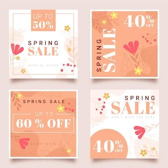 Conjunto de postagens de instagram de promoções de primavera