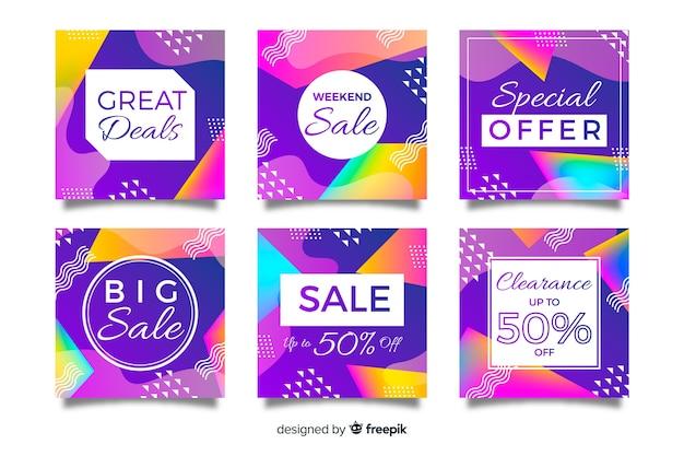 Conjunto de postagens de instagram gradiente de venda