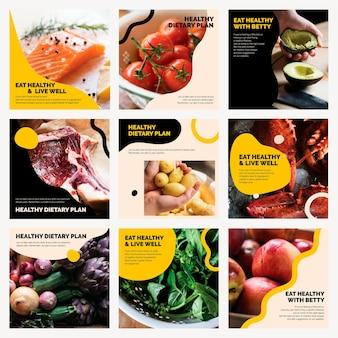 Conjunto de postagens de mídia social de alimentação saudável, marketing alimentar