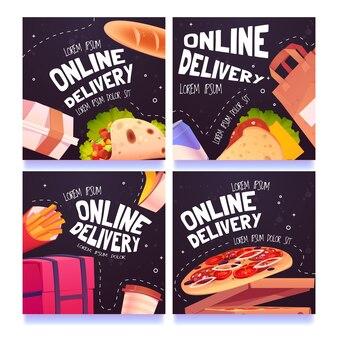 Conjunto de postagens de mídia social de entrega on-line de comida de desenho animado