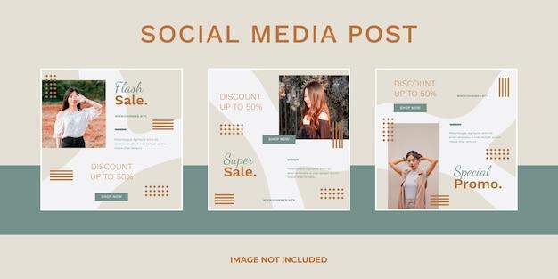 Conjunto de postagens de mídia social de venda de moda