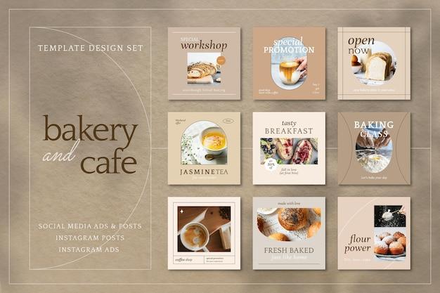 Conjunto de postagens de mídia social de vetor de modelo de marketing estético café