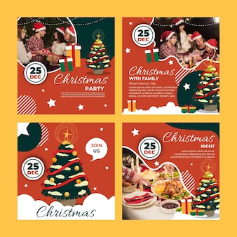Conjunto de postagens de natal no instagram