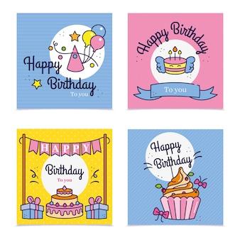 Conjunto de postagens de saudações de aniversário no instagram