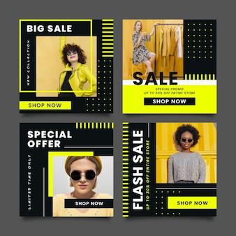 Conjunto de postagens de venda de moda