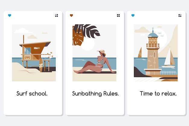 Conjunto de postagens do instagram de atividades de verão para pessoas