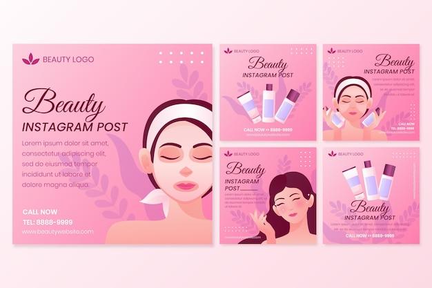 Conjunto de postagens do instagram de beleza gradiente