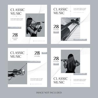 Conjunto de postagens do instagram de música clássica
