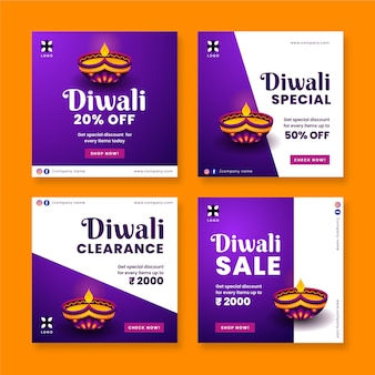 Conjunto de postagens do instagram de promoção de diwali