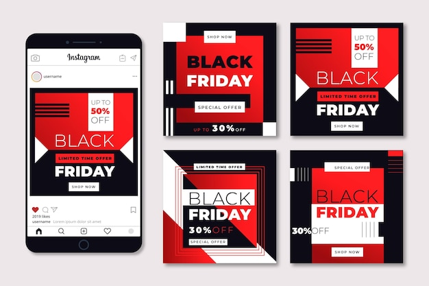 Conjunto de postagens do instagram de sexta-feira preta de modelo de design plano