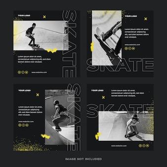 Conjunto de postagens do instagram de skate