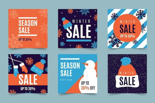 Conjunto de postagens do instagram de venda de inverno