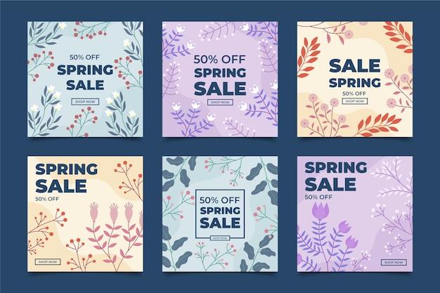 Conjunto de postagens do instagram de venda de primavera
