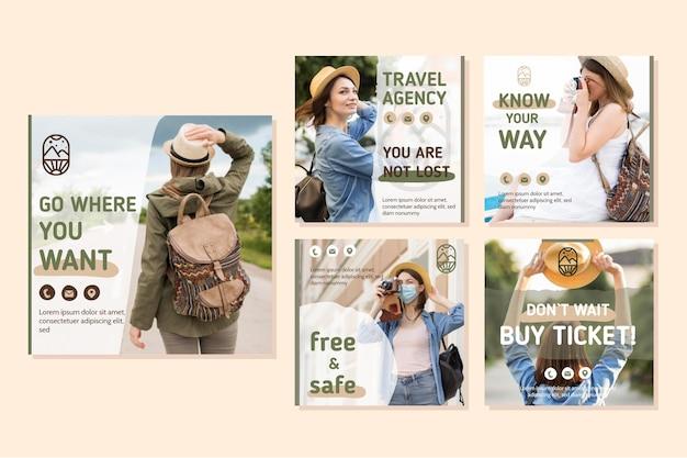 Conjunto de postagens do instagram de venda de viagens